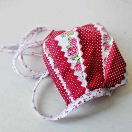 Bavlnìná rouška s kapsou na filtr rùže